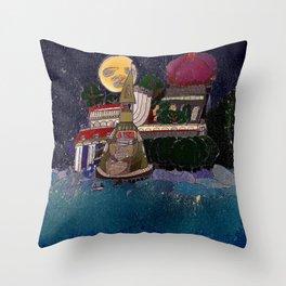 Full Moon Castle Throw Pillow