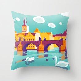 Prague and swans Throw Pillow