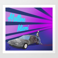 hotline miami Art Prints featuring Hotline Miami: Jacket by Paul Scott (Dracula is Still a Threat)
