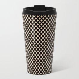 Black and Apricot Illusion Polka Dots Travel Mug