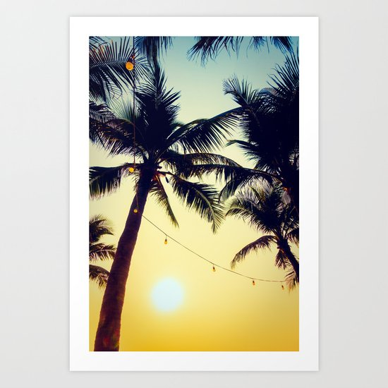 Vintage Palm trees with patio lanterns Art Print