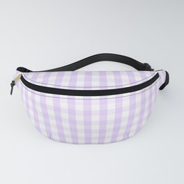 Chalky Pale Lilac Pastel and White Gingham Check Plaid Fanny Pack