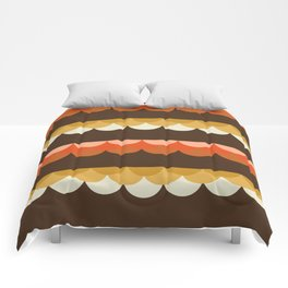 Be Still - scallop retro vintage 70s style colors 1970s throwback Comforters
