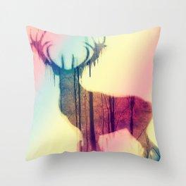 Deer colorful Throw Pillow