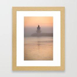 Foggy Maine Lighthouse Framed Art Print