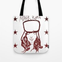 russia Tote Bags featuring Mother Russia by Hoolianne