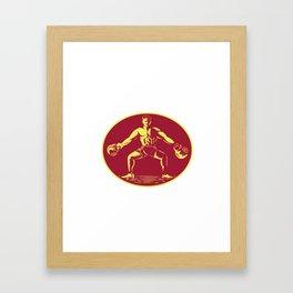 Athlete Lifting Kettlebell Oval Woodcut Framed Art Print