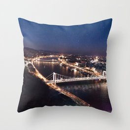 NIGHT TIME IN BUDAPEST Throw Pillow