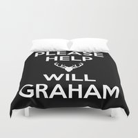 will graham Duvet Covers featuring Please Help Will Graham by Paige Thulin