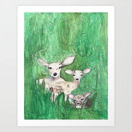Three Little Deer Art Print