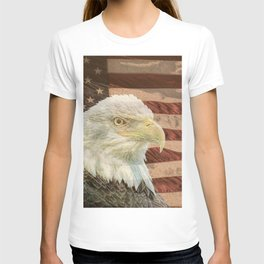 Rustic Bald Eagle on American Flag A213 T-shirt