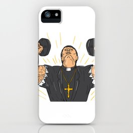 Ripped Priest Exercise Dumbbell Drawing iPhone Case