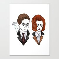 mulder Canvas Prints featuring mulder and scully by Bunny Miele