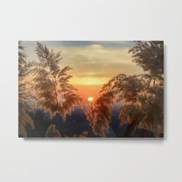 """Sun through the fields"" Sunset at the mountains Metal Print"