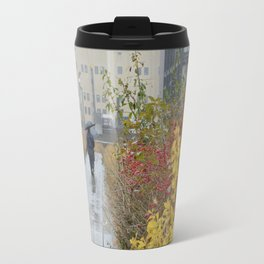 Walking in the rain in New York Travel Mug
