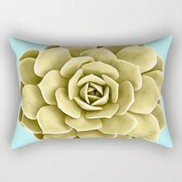 Yellow Succulent Plant on Teal Rectangular Pillow