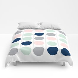 Trendy color palette minimal painted dots polka dot minimalist pink mint grey navy Comforters