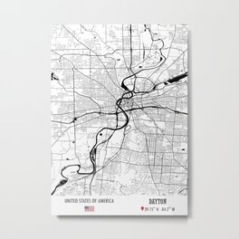 Dayton, USA Road Map Art - Earth Tones Metal Print