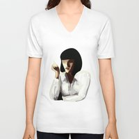 mia wallace V-neck T-shirts featuring Mia Wallace by Clotilde Petit