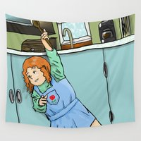 cooking Wall Tapestries featuring Cooking with children by mystmoon