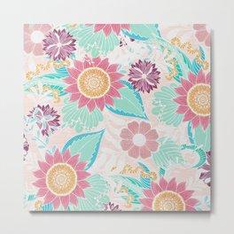Artsy Pink Teal Flowers Leaves Oil Painted Pattern Metal Print
