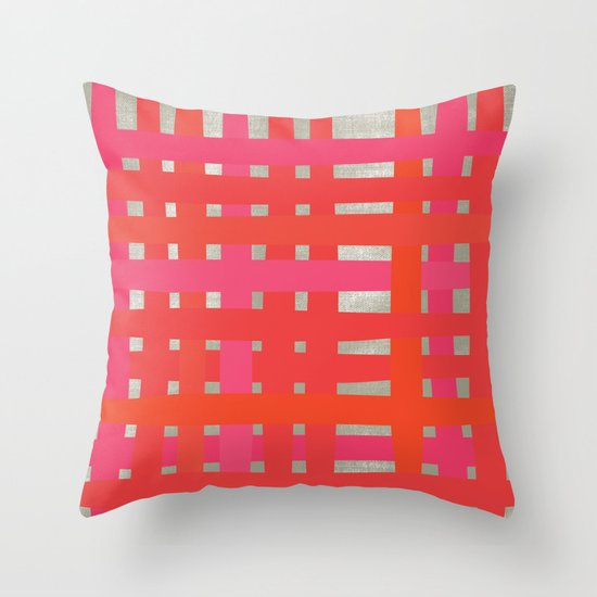 Loom - Red + Magenta Throw Pillow