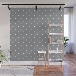 Small White Polka Dots with Grey Background Wall Mural