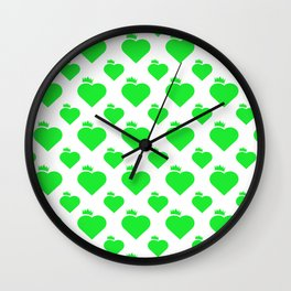 Crown Heart Pattern Green Wall Clock