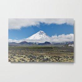 Beautiful mountain landscape, view of volcano, tundra and blue sky on sunny day. Kamchatka Peninsula Metal Print