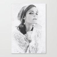 emma watson Canvas Prints featuring Emma Watson by fabio verolino