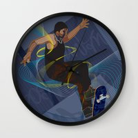 skateboard Wall Clocks featuring Project Skateboard by Martin Orme