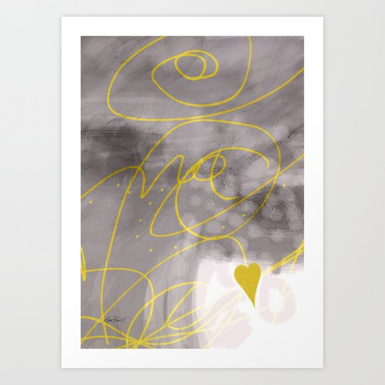 Heart Yellow And Gray abstract art by Ann Powell Art Print