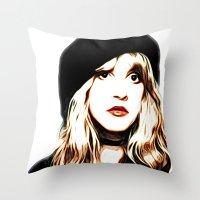 stevie nicks Throw Pillows featuring Stevie Nicks - Rhiannon - Pop Art by William Cuccio aka WCSmack