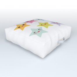 Kawaii stars, face with eyes, pink green blue purple yellow Outdoor Floor Cushion
