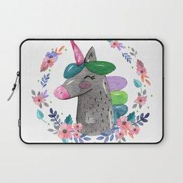 Happy Unicorn Floral Watercolor Laptop Sleeve