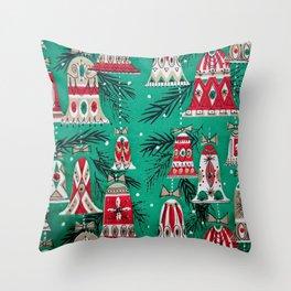 Pretty Retro Christmas Throw Pillow