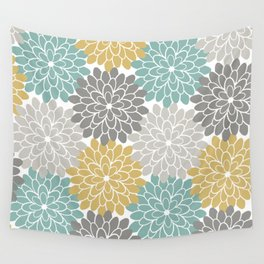 Pastel Petals in Light Amber, Light Opal, Pale and Dark Grey Wall Tapestry