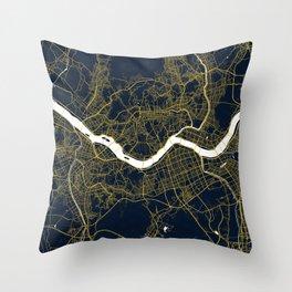 Seoul City Map of South Korea - Gold Art Deco Throw Pillow