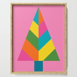Retro Christmas Tree in Pink Serving Tray
