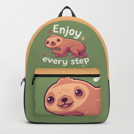 Enjoy Every Step // Motivational Baby Sloth, Kawaii, Positivity Backpack