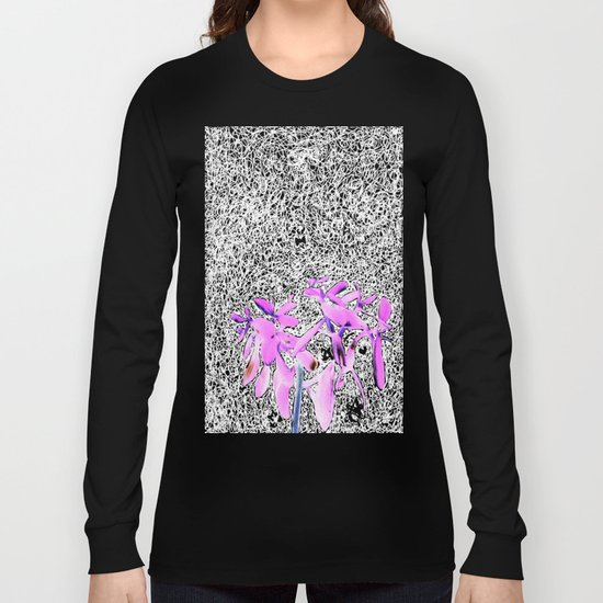 Neon Succulent Black and White Scribbles! Long Sleeve T-shirt