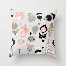 Tribal feather pattern 025 Throw Pillow