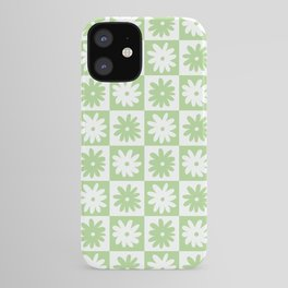 Green And White Checkered Flower Pattern iPhone Case