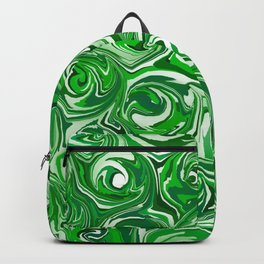 Emerald Green, Green Apple, and White Paint Swirls Backpack