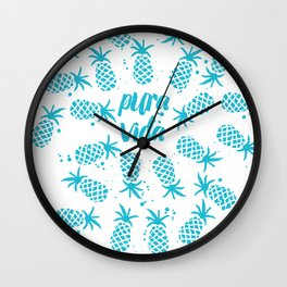 Pura Vida Pineapples in Blue Wall Clock