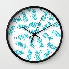 Pura Vida Pineapples in Blue Wall Clock