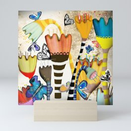 Get up, stand up - Rupydetquila Sunset Butterfies Mini Art Print