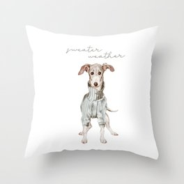 Sweater Weather Whippet Throw Pillow