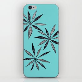 Elegant Thin Flowers With Dots And Swirls iPhone Skin
