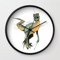 dinosaur Wall Clocks featuring Dinosaur by Nicola Girello